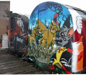 Graffiti Art on Rooftop Tube Carriages