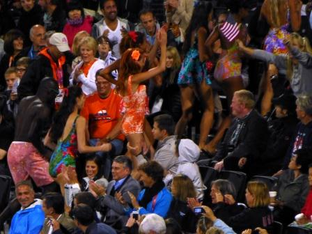 London 2012 Dancers in Beach Volleyball Crowd