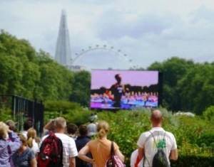 Three Modern Icons of London -- The Shard, the London Eye and Johnny Brownlee Getting Triathlon Bronze on the Big Screen