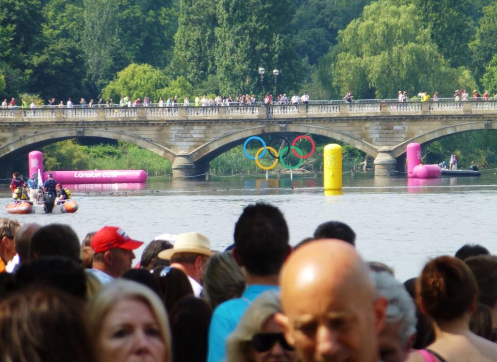 Olympic Rings Under the Serpentine Bridge -- Men's Marathon Swimming