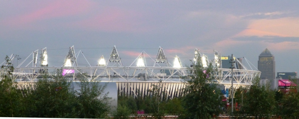 Olympic Stadium and Canary Wharf 010912