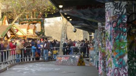 Bavarian Christmas Market Meets Graffiti Covered Skateboard Undercroft