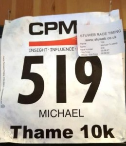 My Race Number and Timing Slip for the Thame 10K on 28th June
