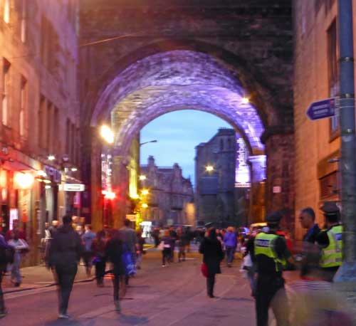 Cowgate Preparing for a Heavy Evening under the South Street Viaduct